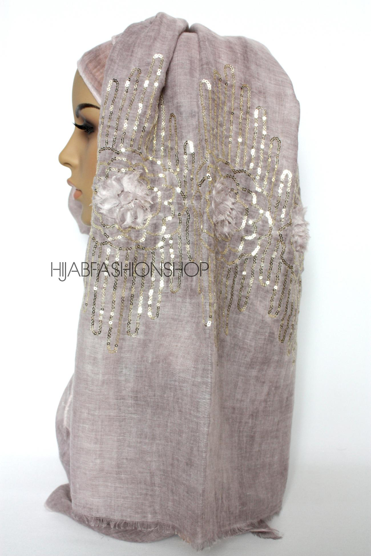 dusky mauve linen look hijab with frayed flower detail and sequins side view