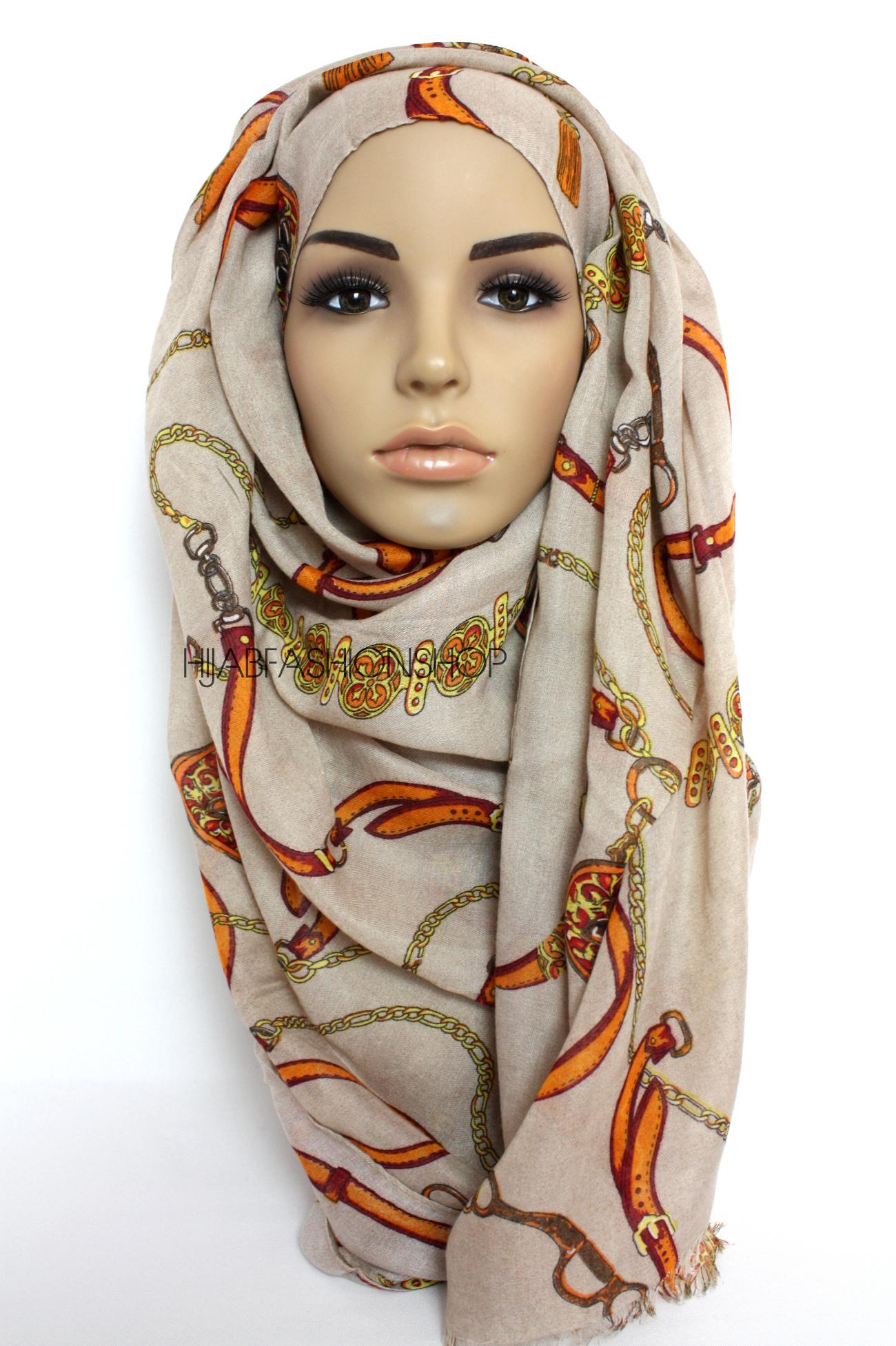light beige hijab with chain and belt print