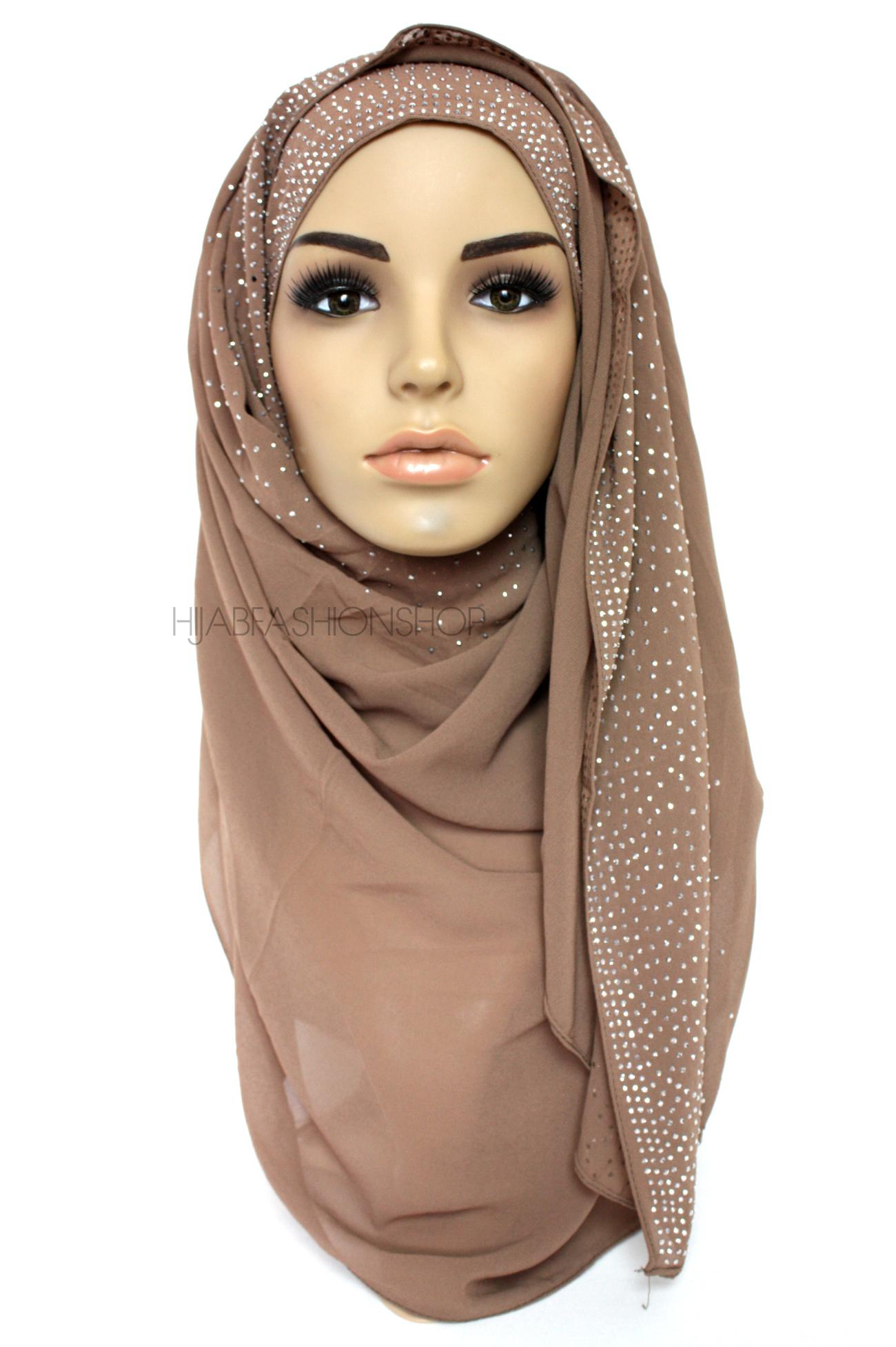 coffee studded chiffon hijab 2