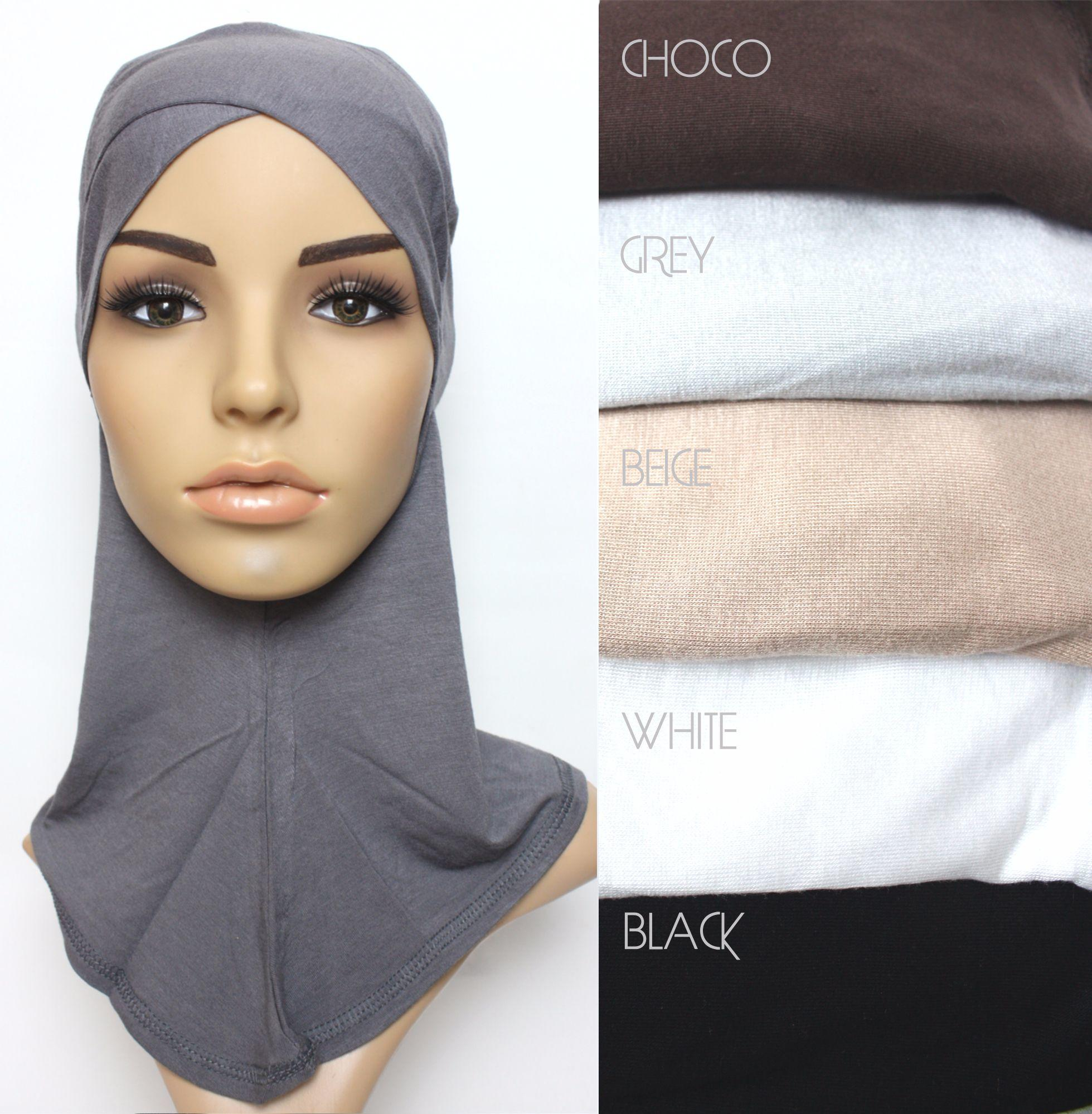 slate full hijab underscarf with criss cross peak and colour swatches