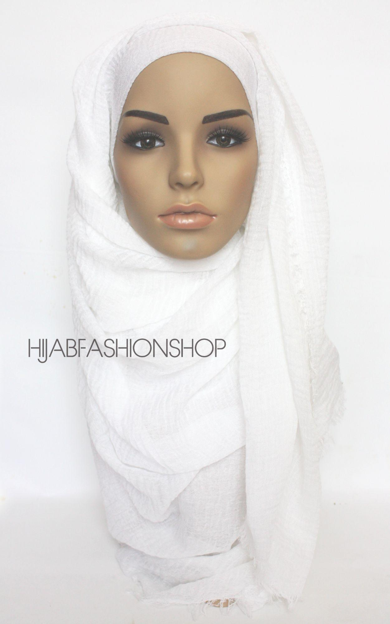 off white crimp crinkle hijab