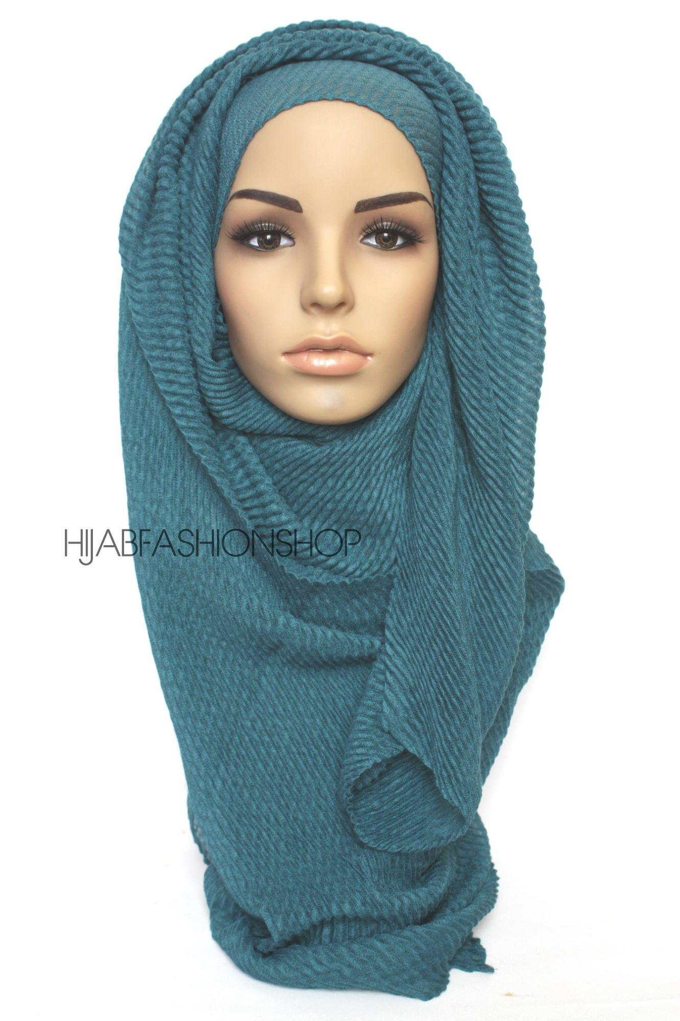 teal pleated hijab