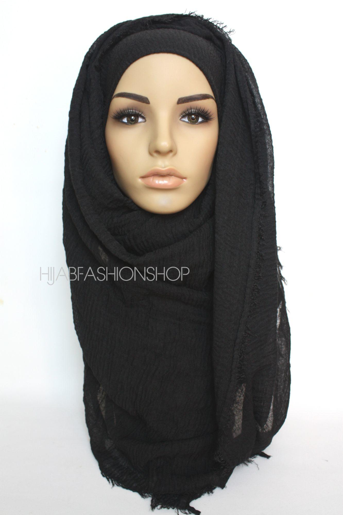 black crimp crinkle hijab