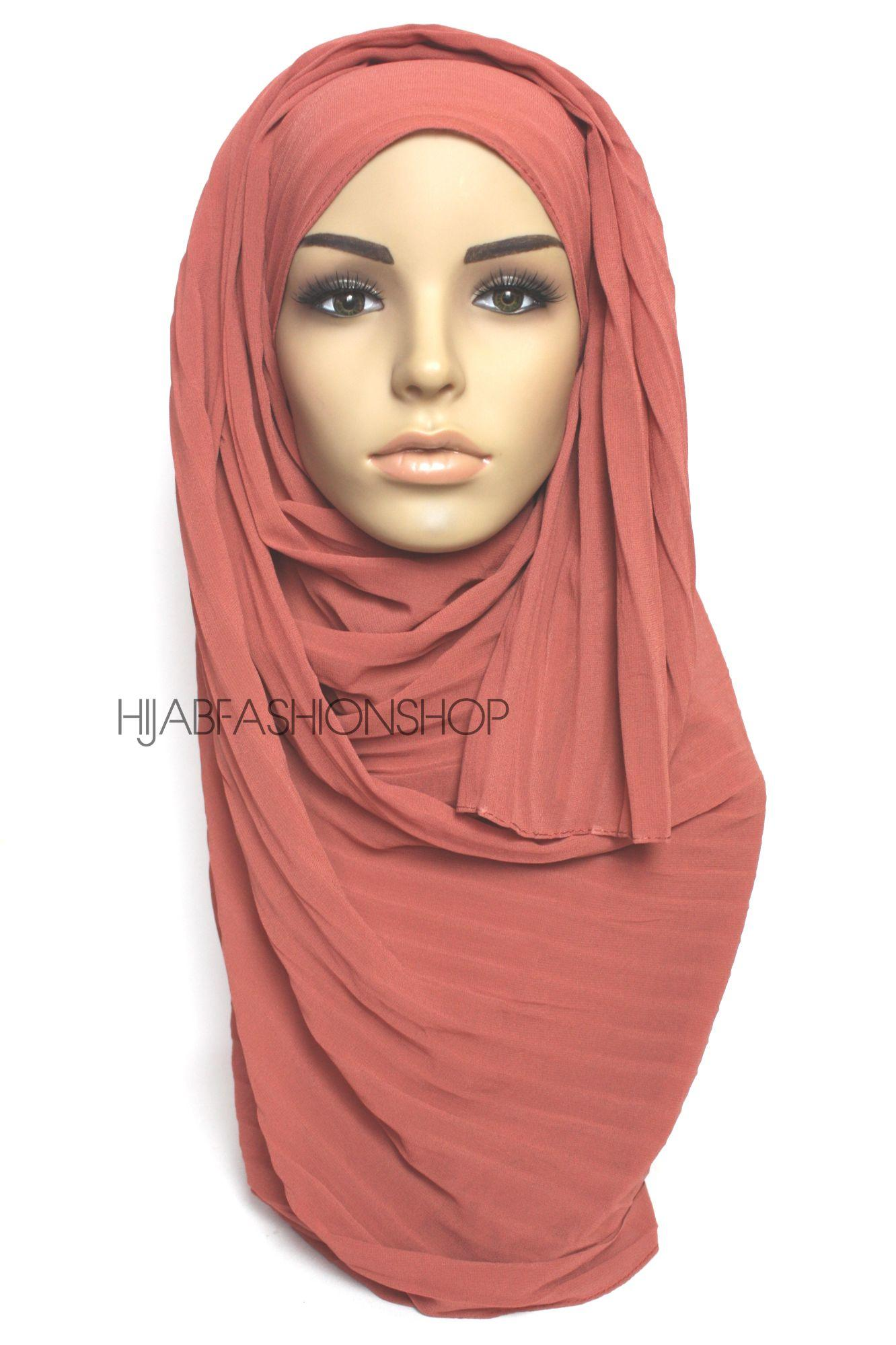 salmon pleated crepe chiffon hijab