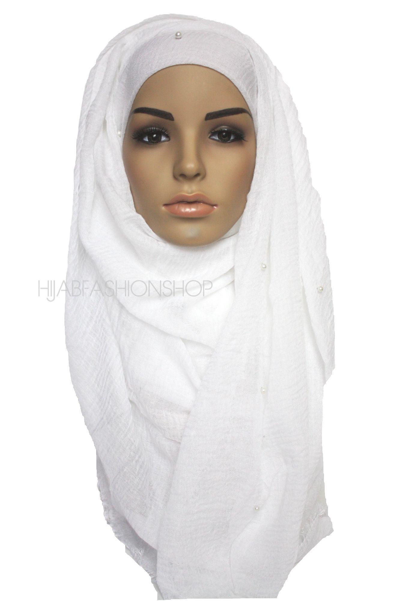 white crimp crinkle hijab with pearls