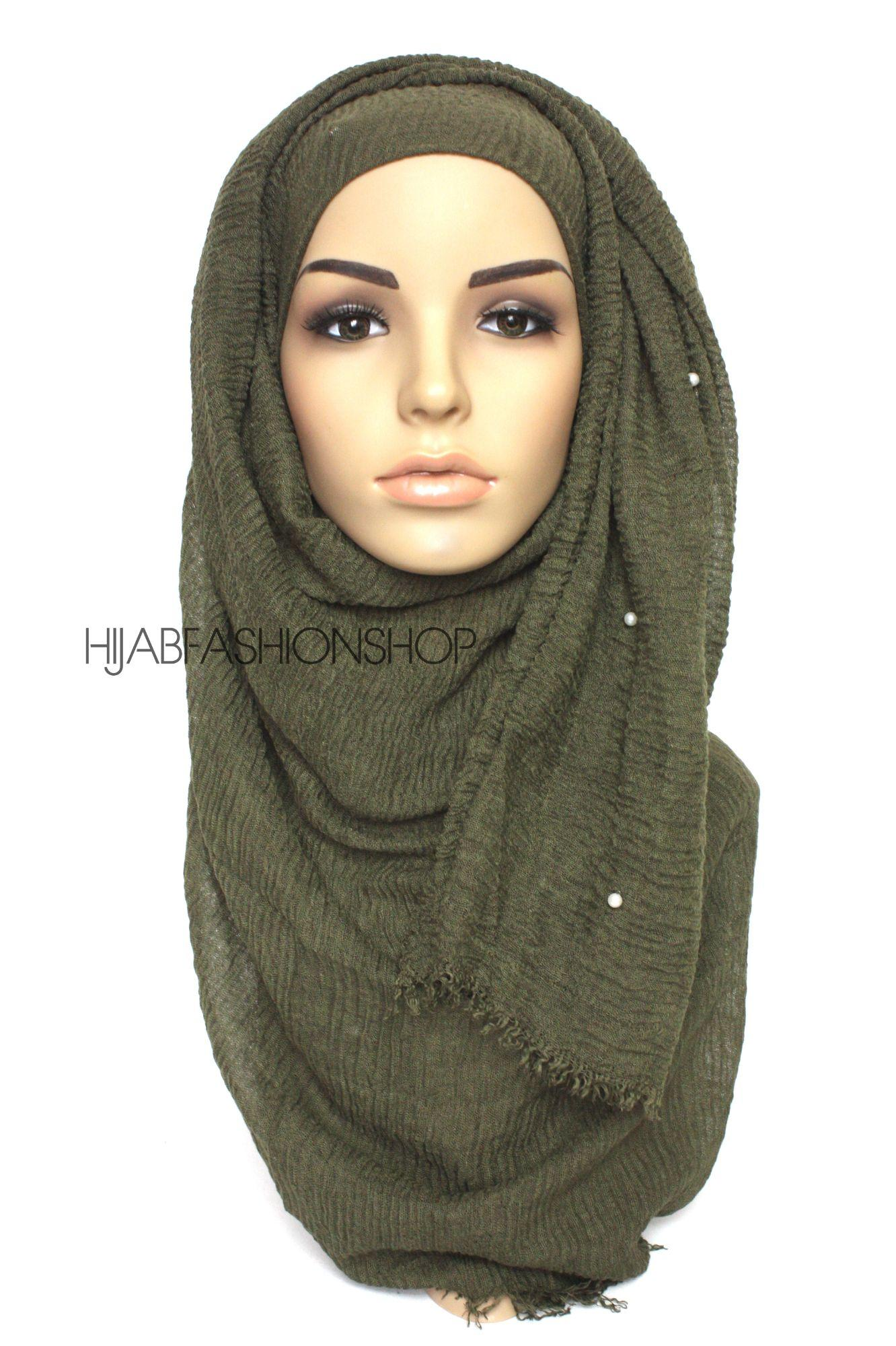 forest green crimp crinkle hijab with pearls