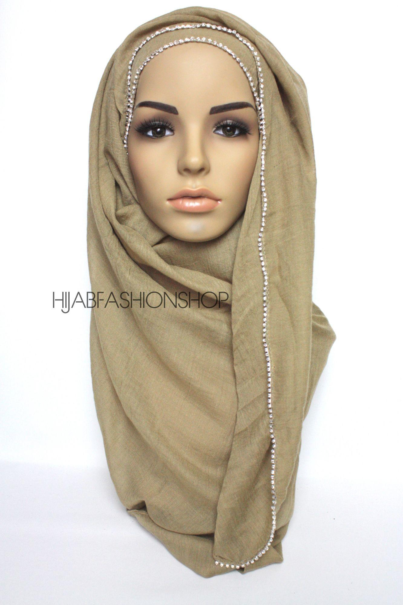 taupe plain hijab with clear crystal line on one longer edge