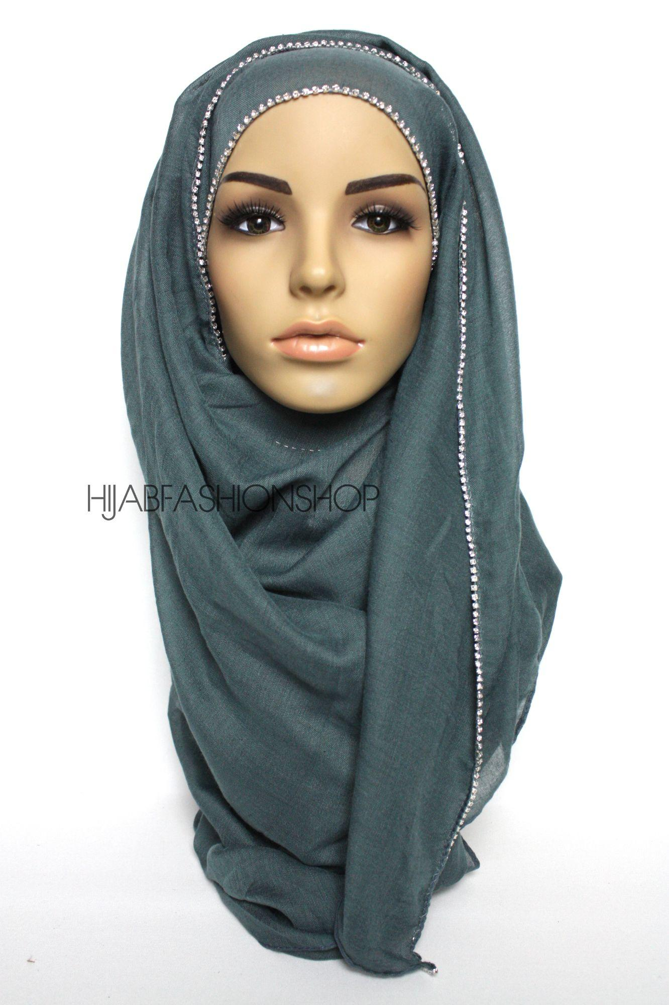 teal plain hijab with clear crystal line on one longer edge