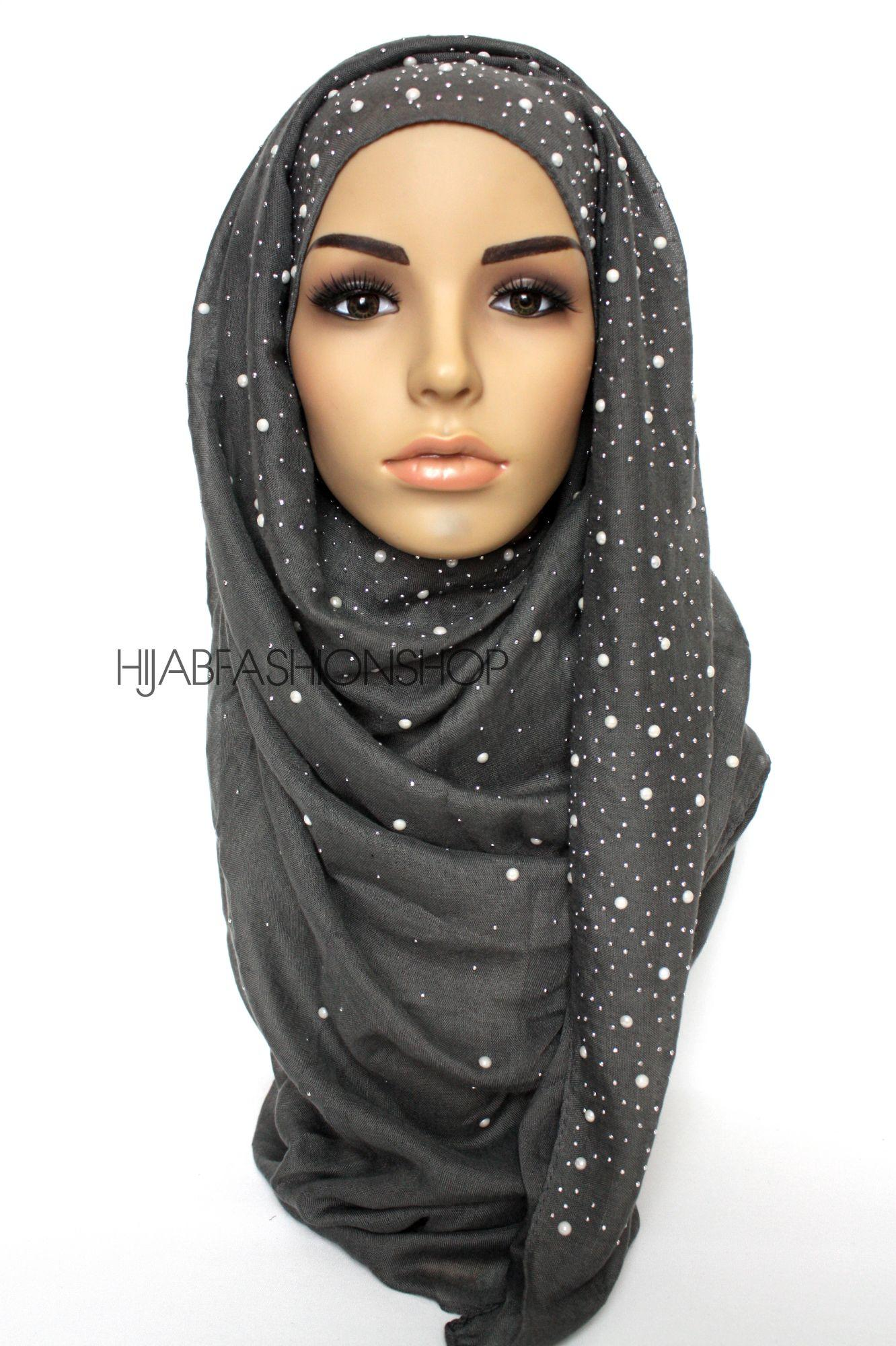 charcoal hijab with silver studs and pearls