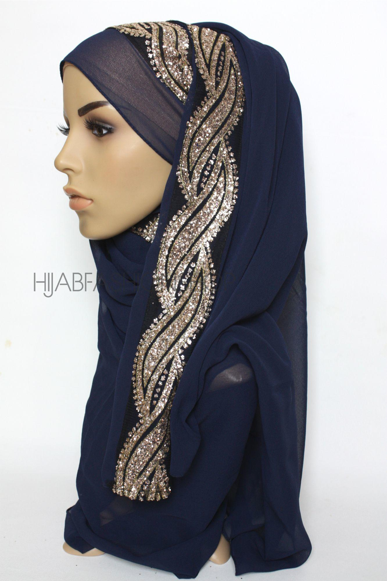 navy chiffon hijab with glitter line on one side