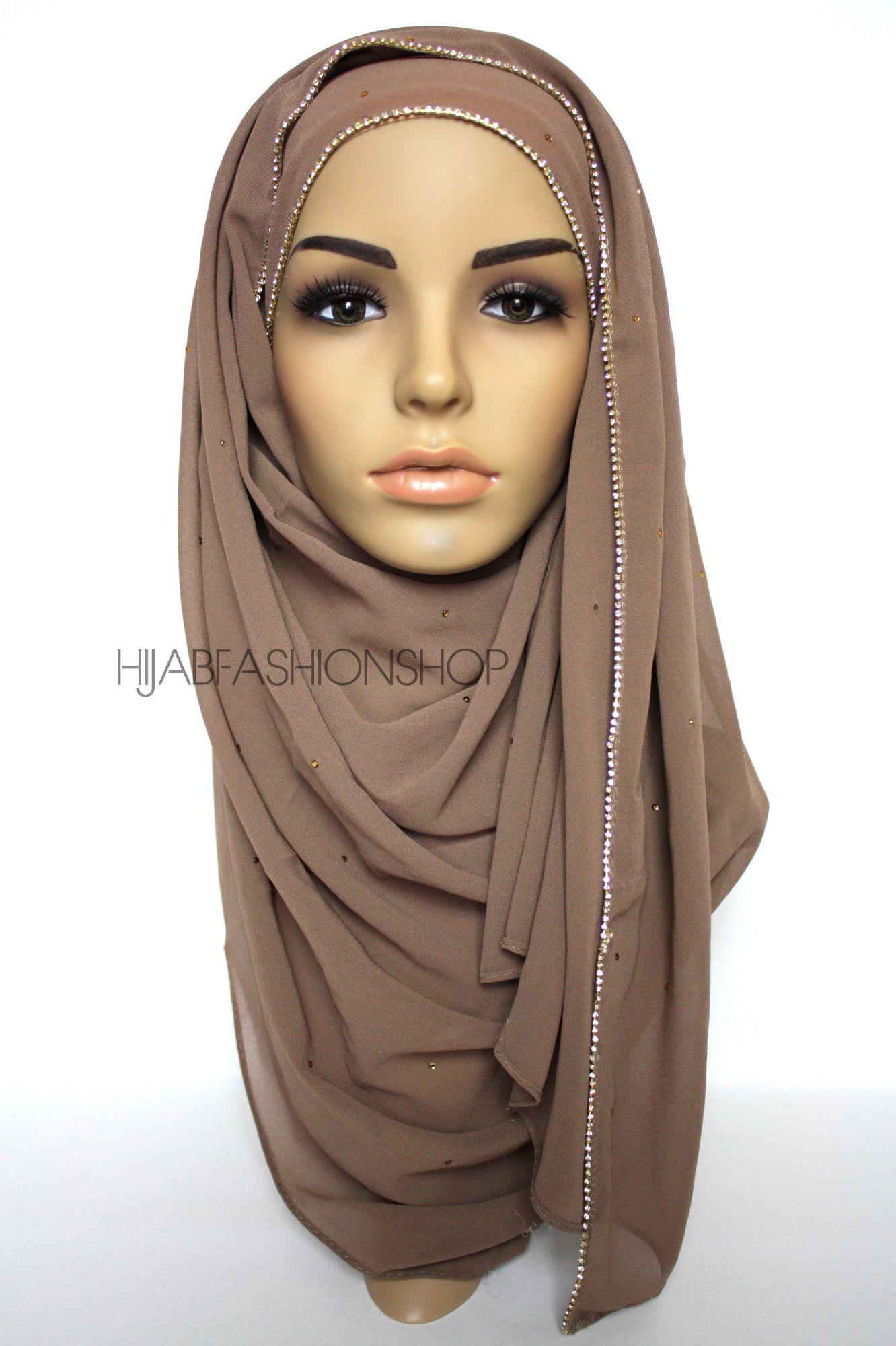 cappuccino chiffon hijab with clear crystal line on longer edge