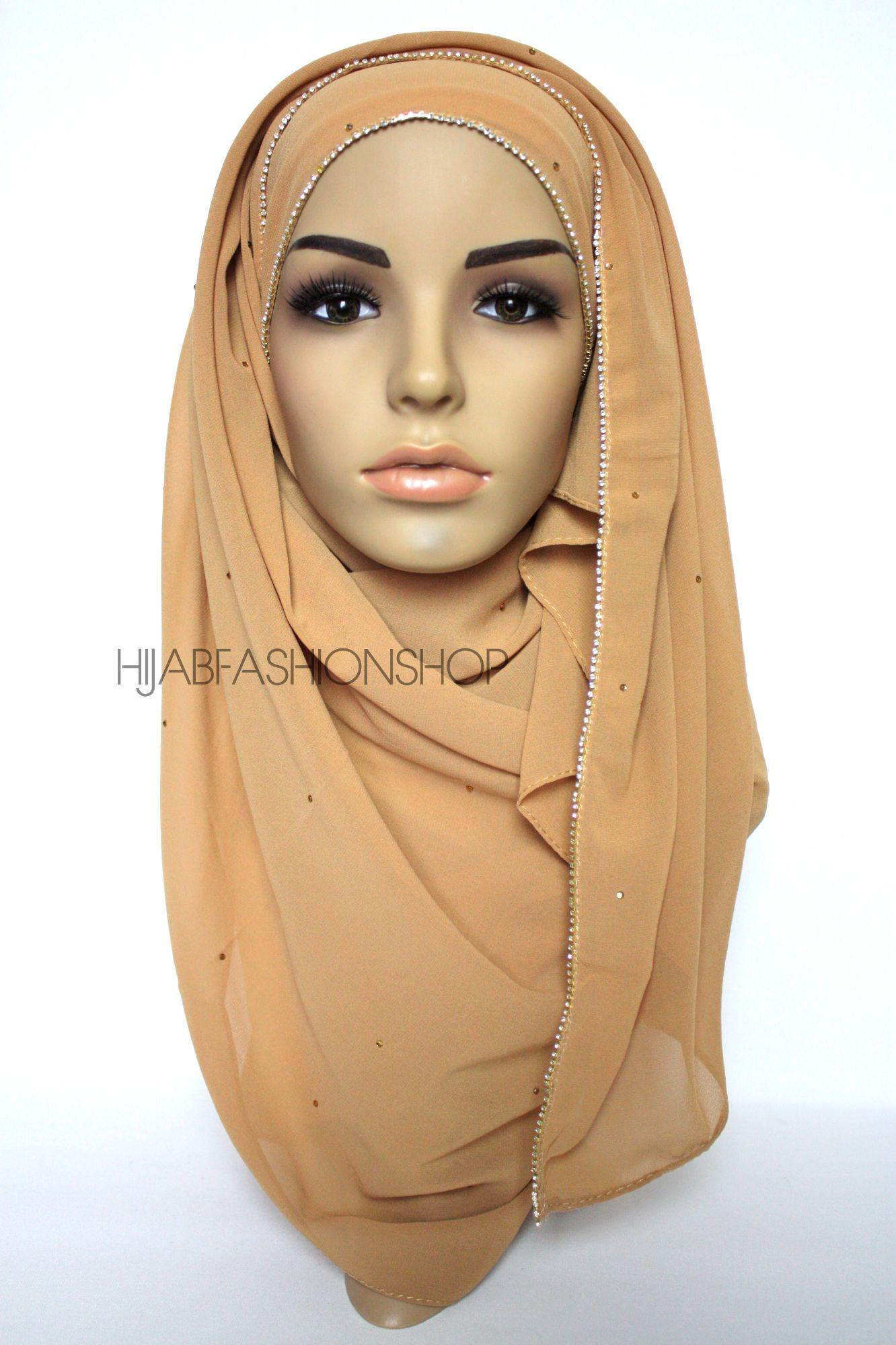 camel chiffon hijab with clear crystal line on longer edge