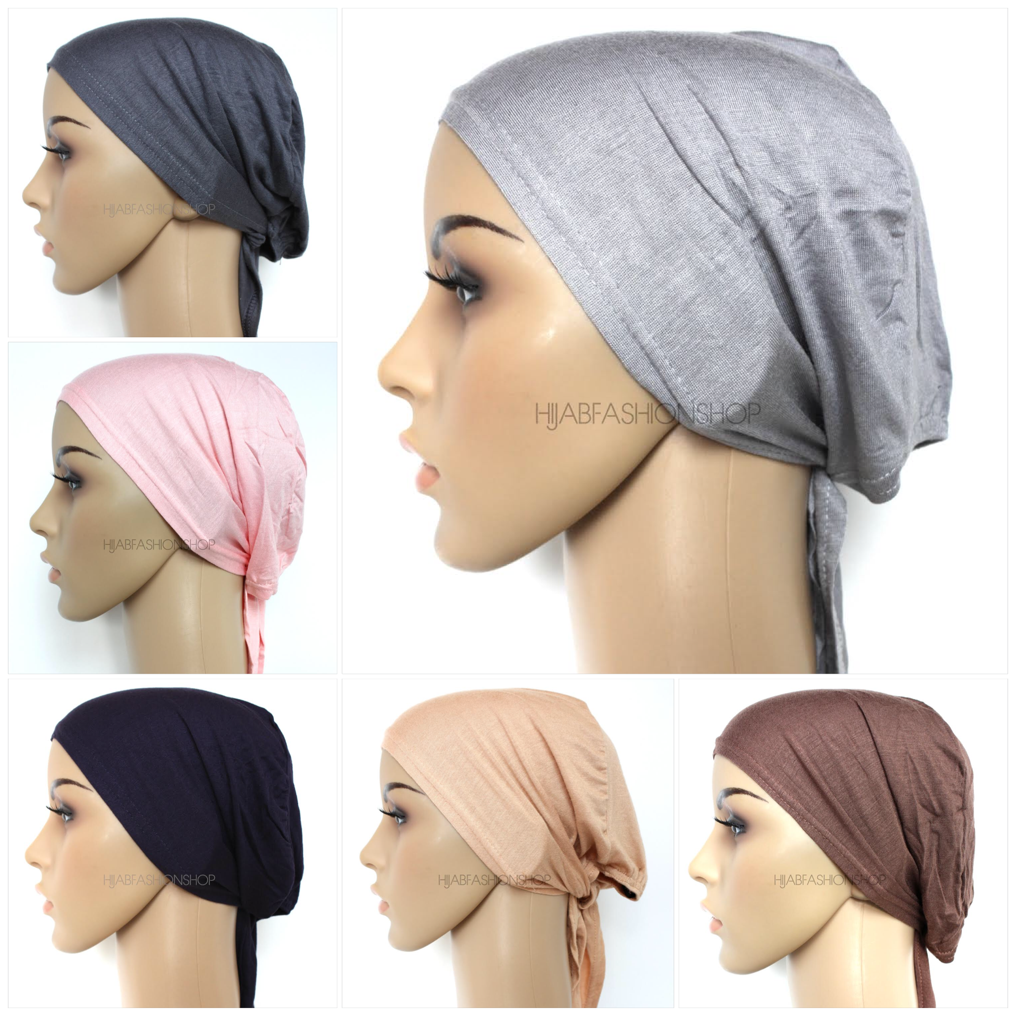 Six hijab caps