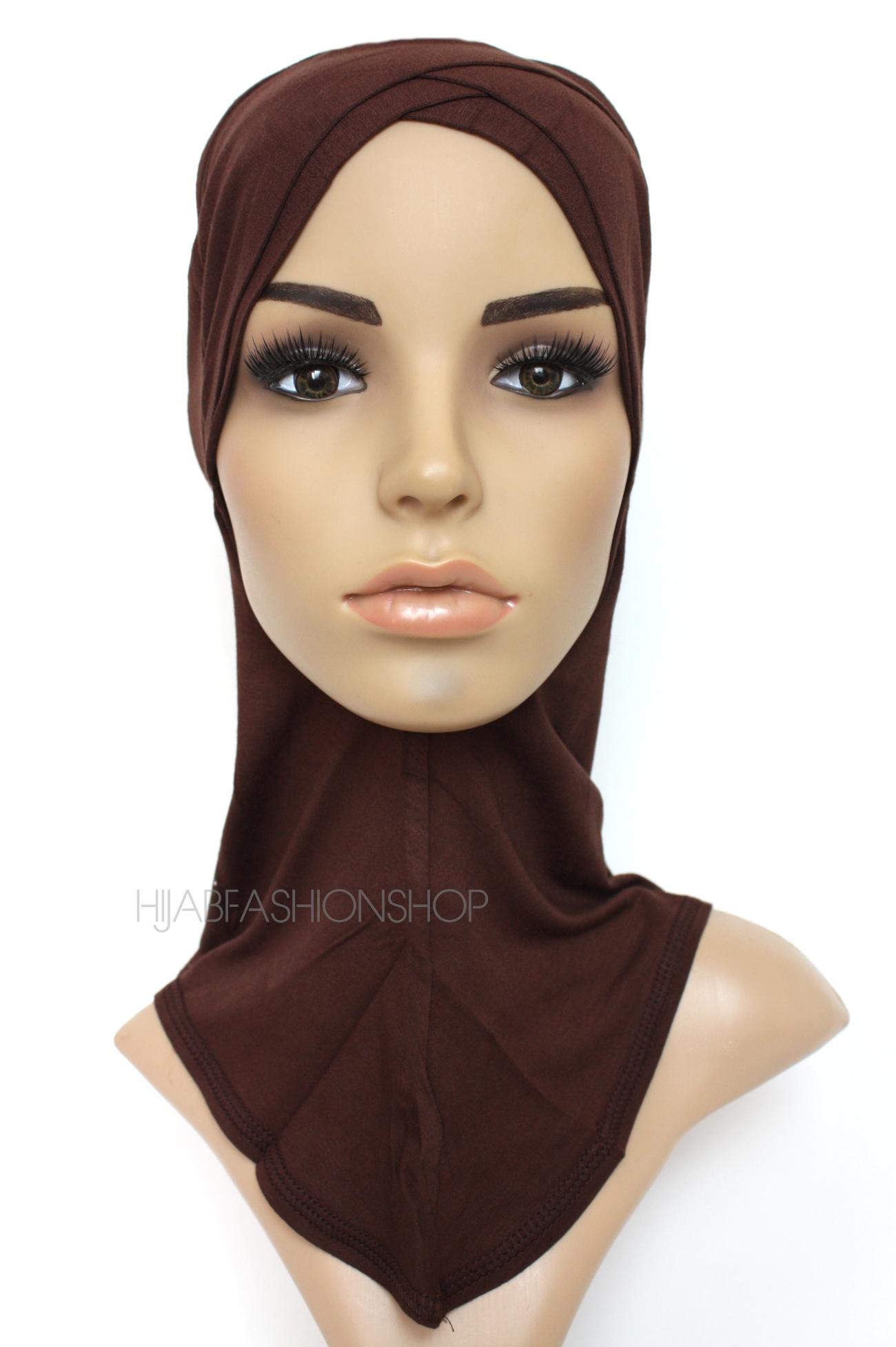 chocolate full hijab underscarf with double criss cross peak