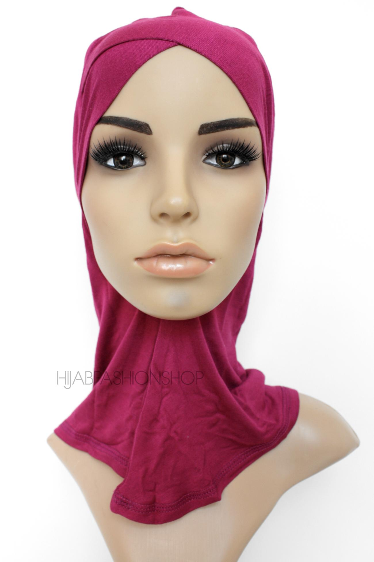 fuchsia full hijab underscarf with criss cross peak