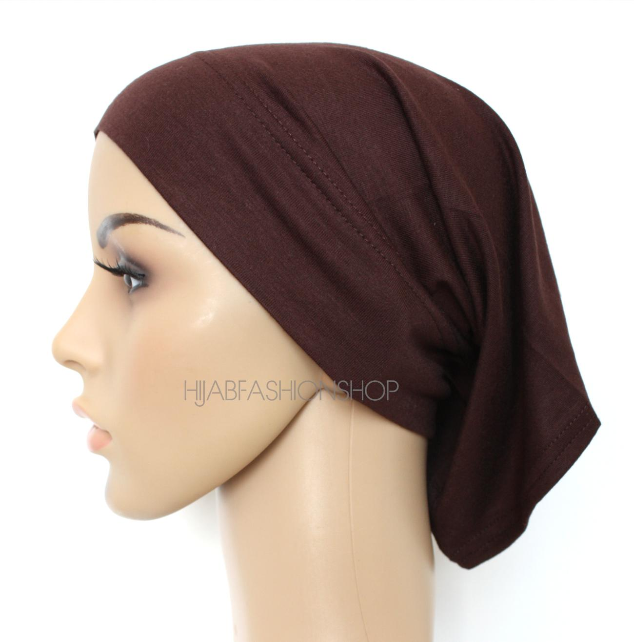 dark brown tube hijab cap