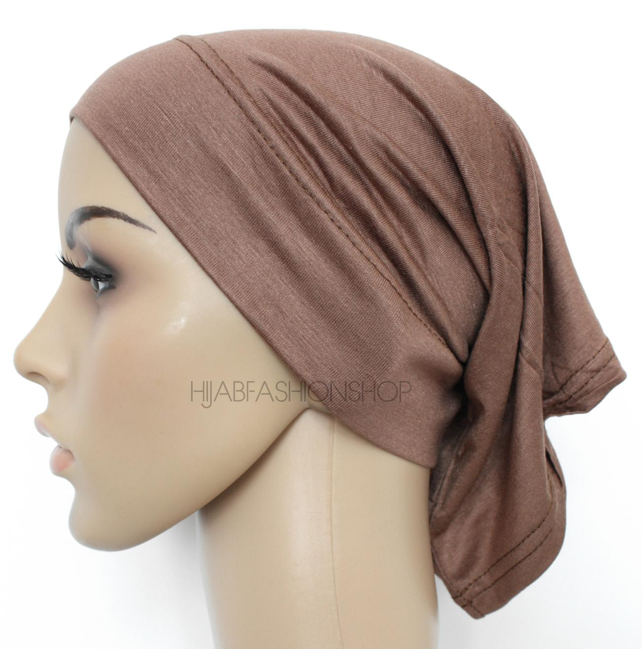 brown tube hijab cap