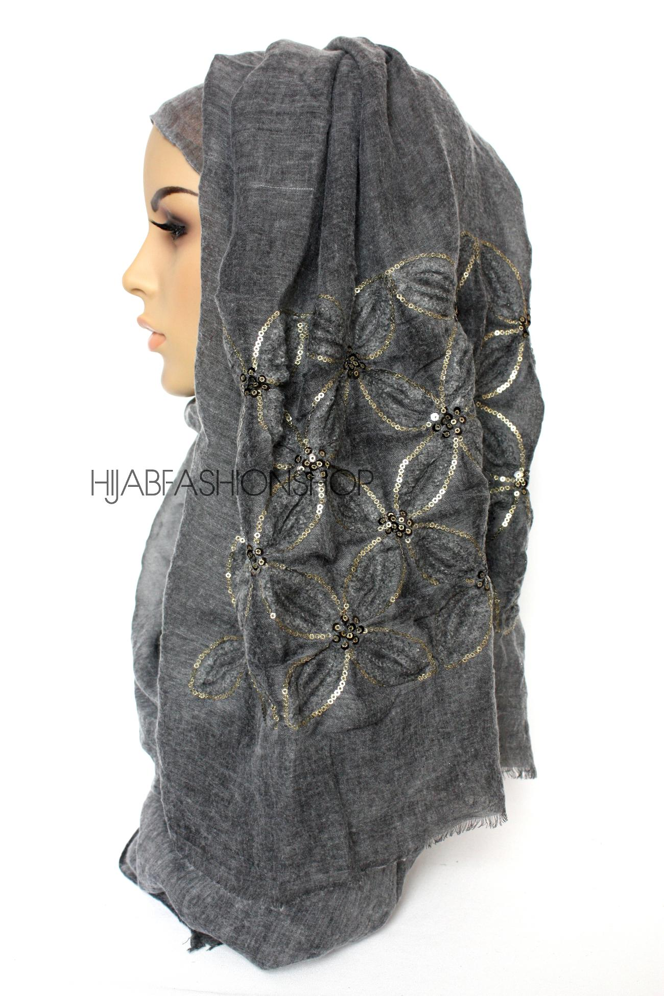 charcoal linen look hijab with lilies embroidery and sequins side view