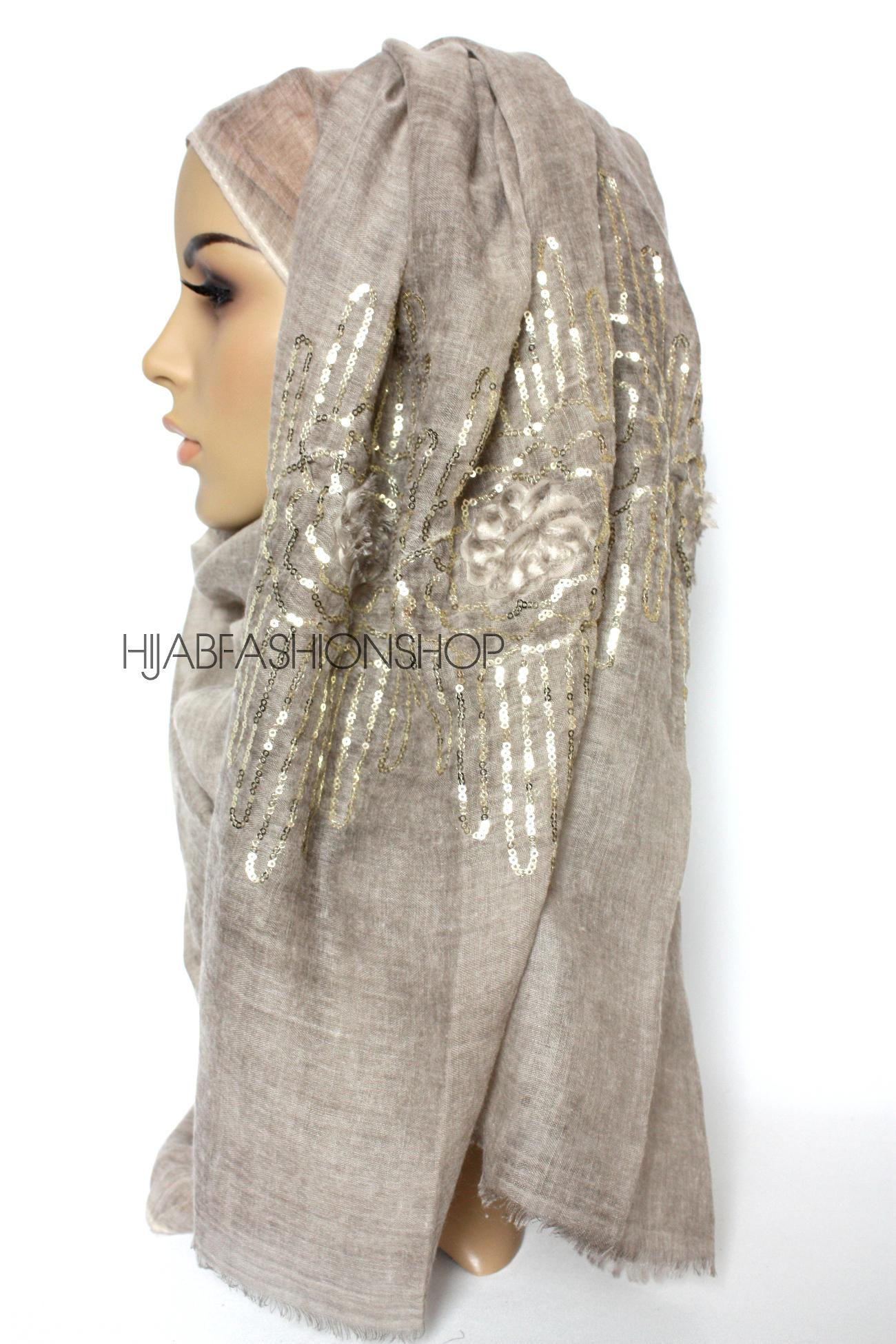 taupe linen look hijab with frayed flower detail and gold sequins