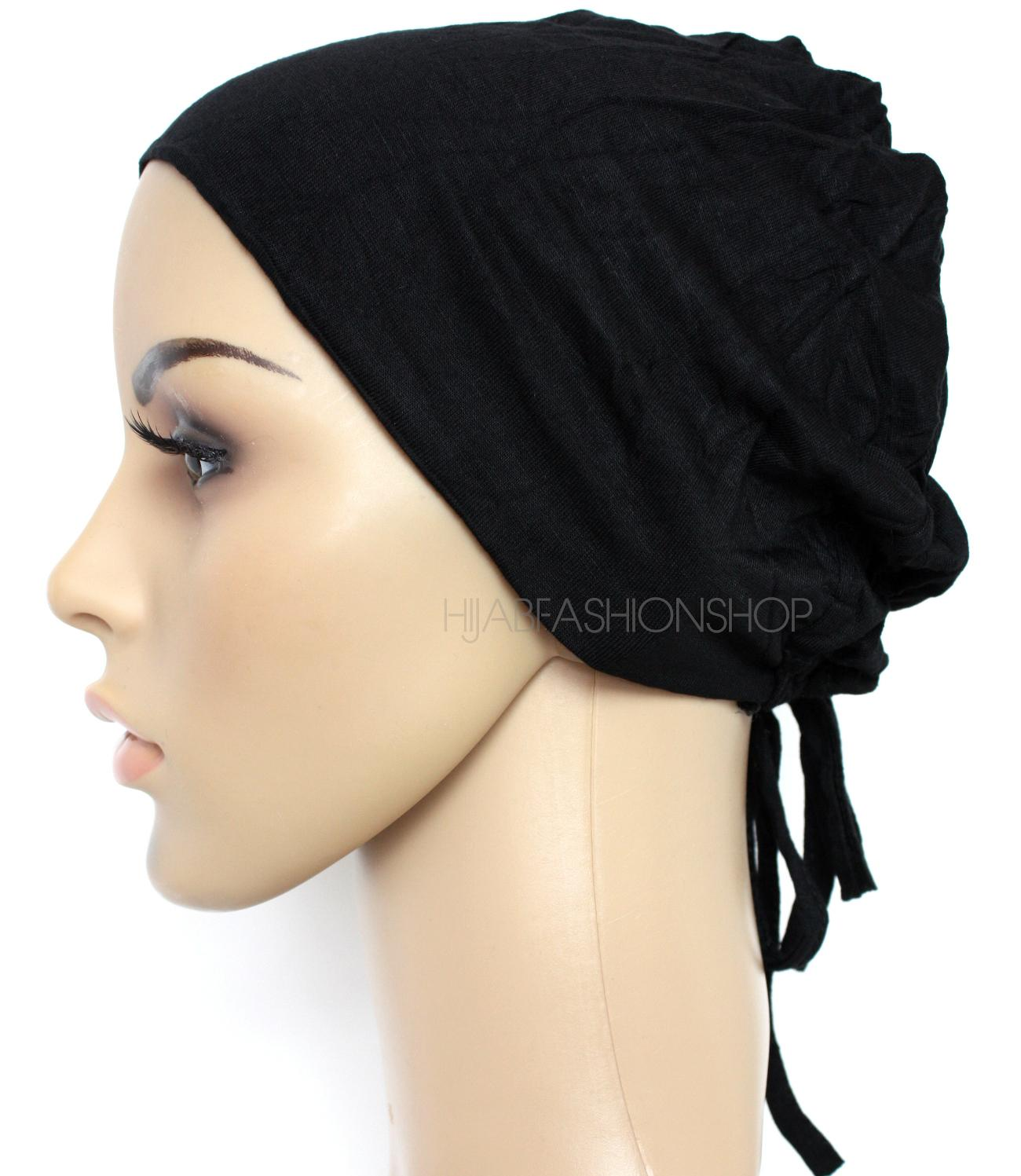 black ruched back string bonnet