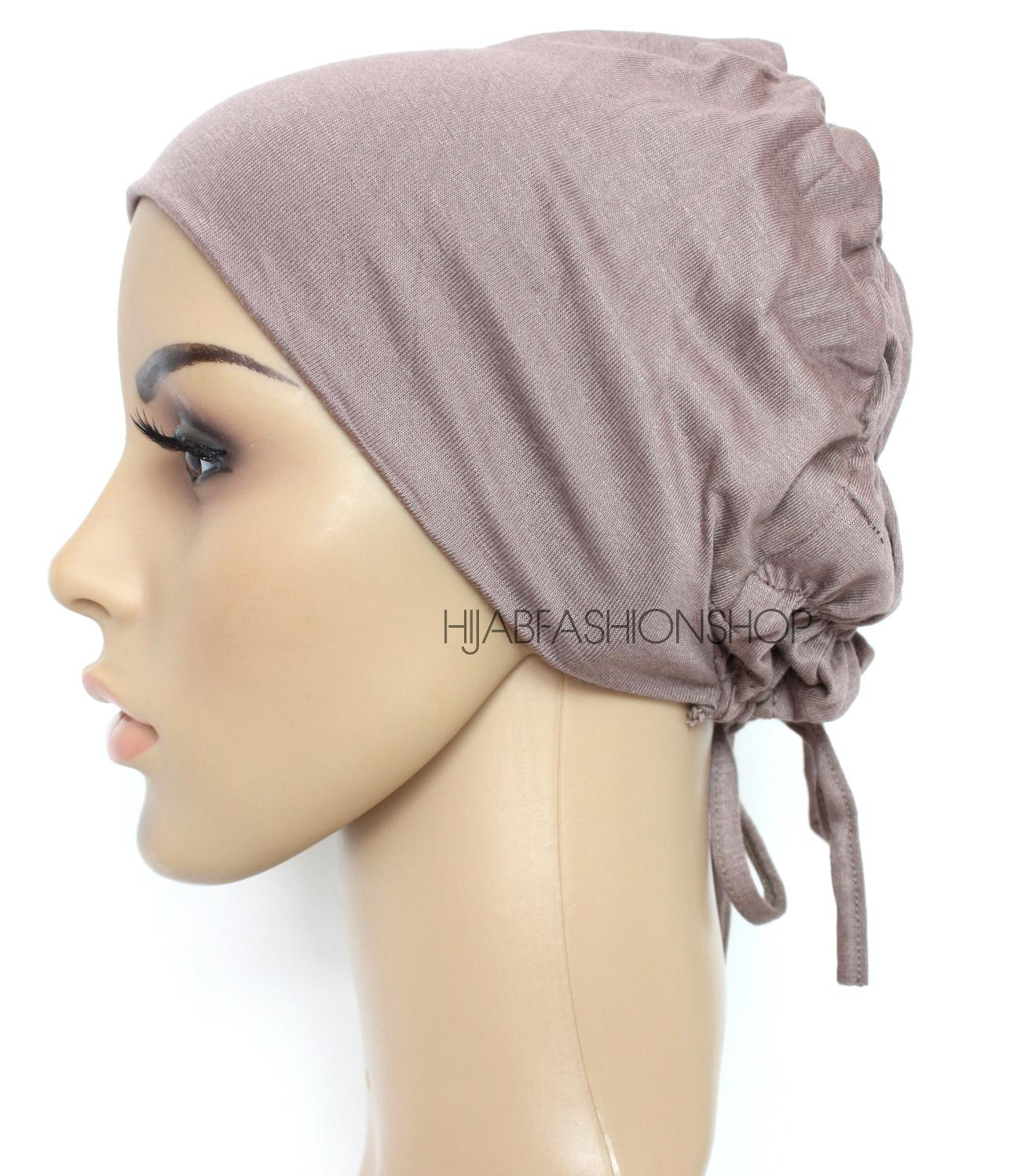 mink ruched back string bonnet