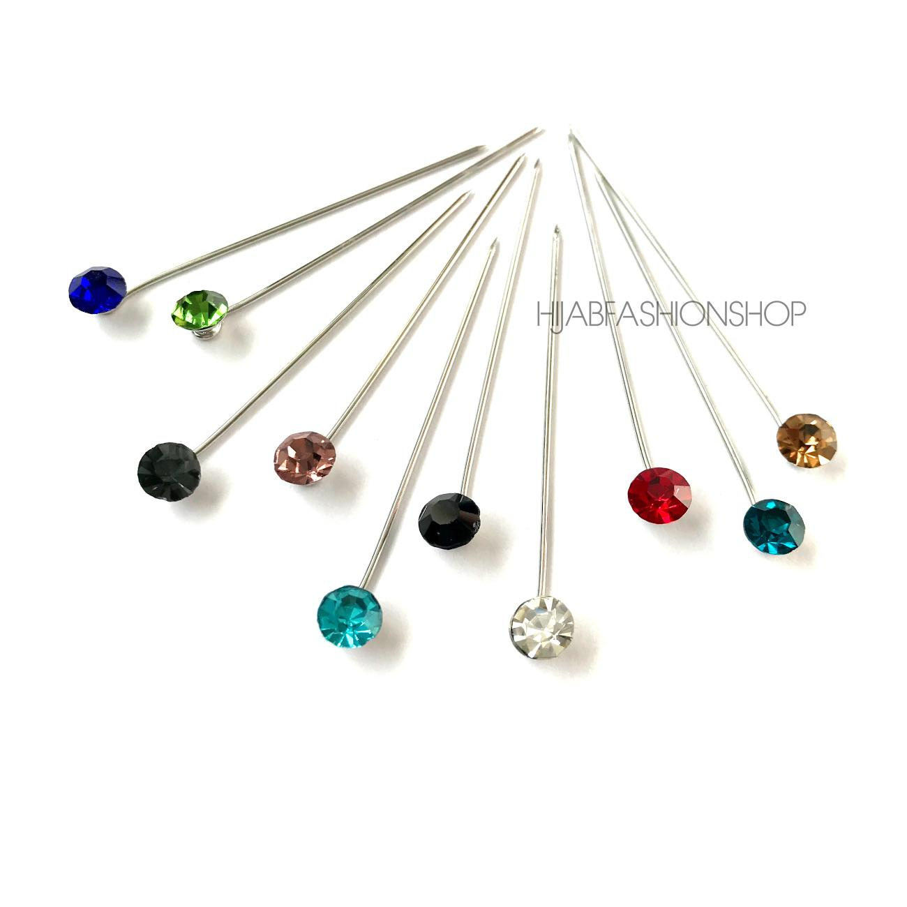 variety of colourful crystal hijab pins