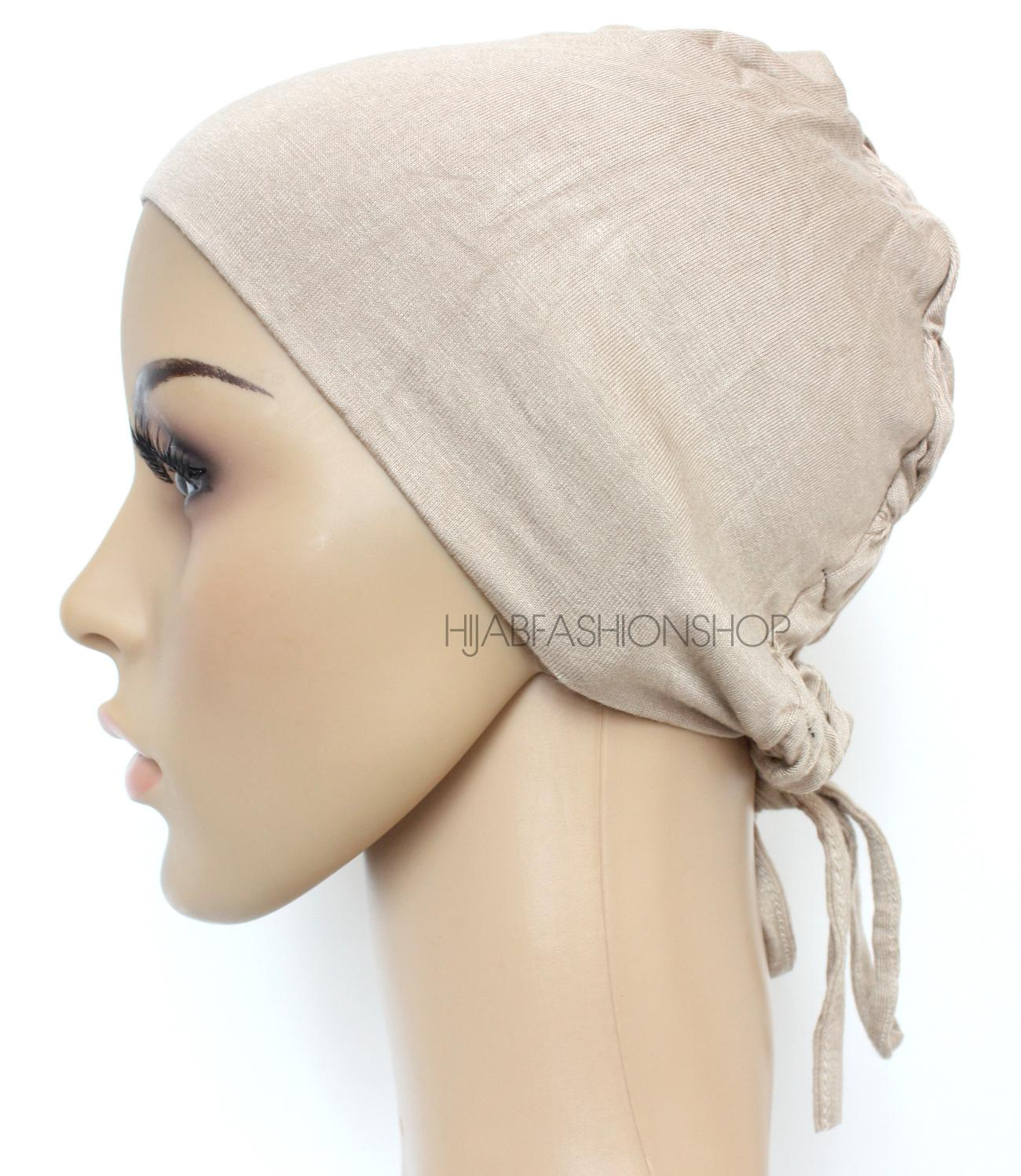 light taupe ruched back string bonnet