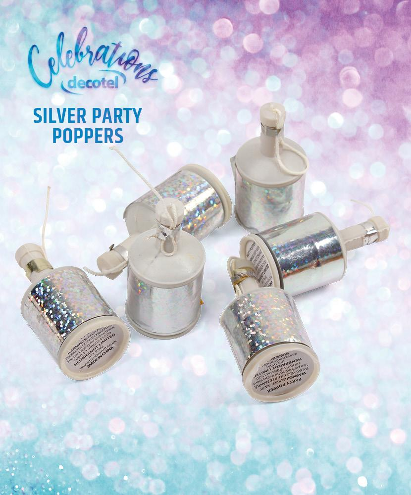 silver party poppers