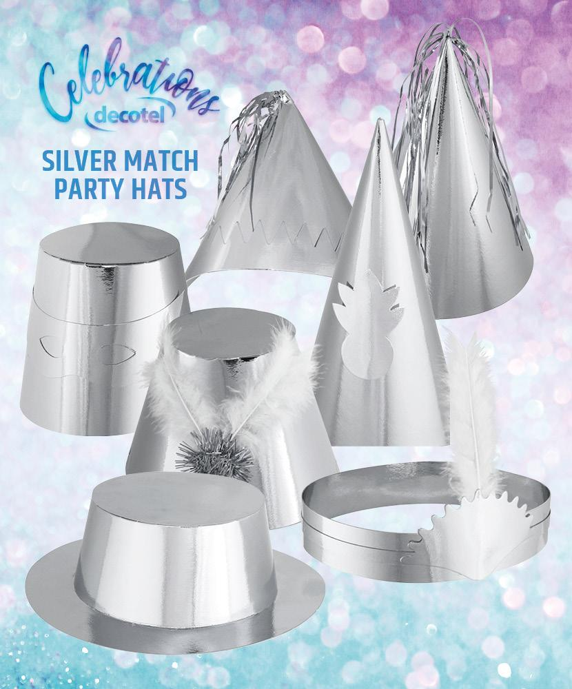 silver match party hats