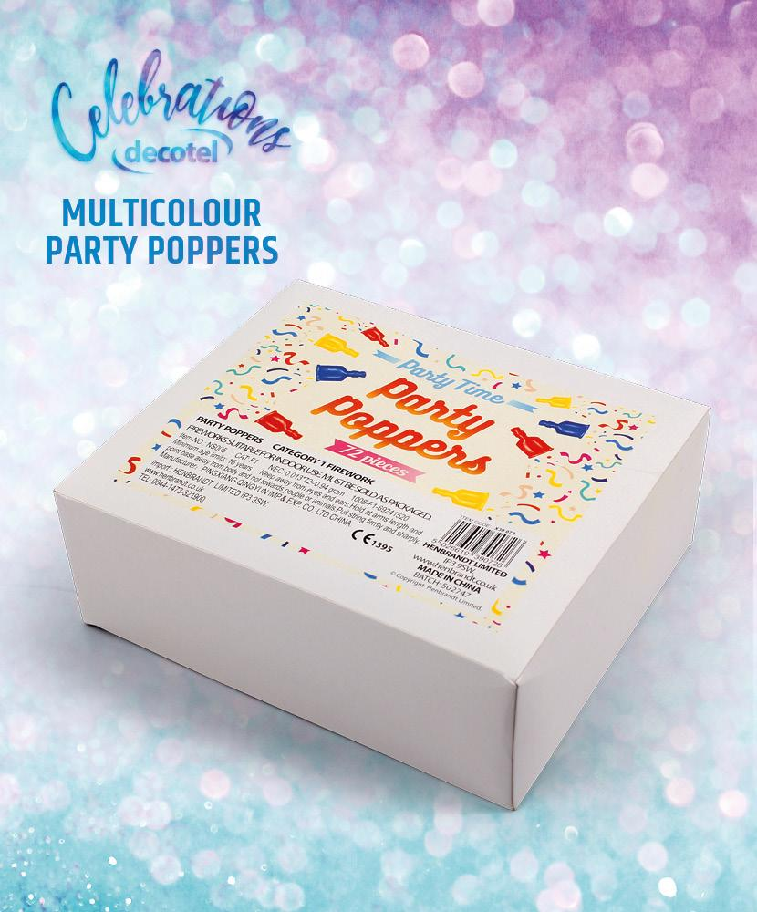 multicolour party poppers box