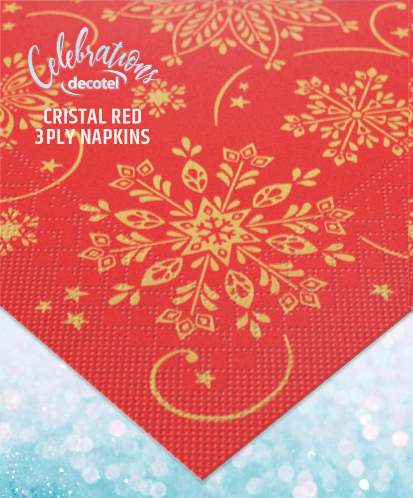 cristal red three ply napkins