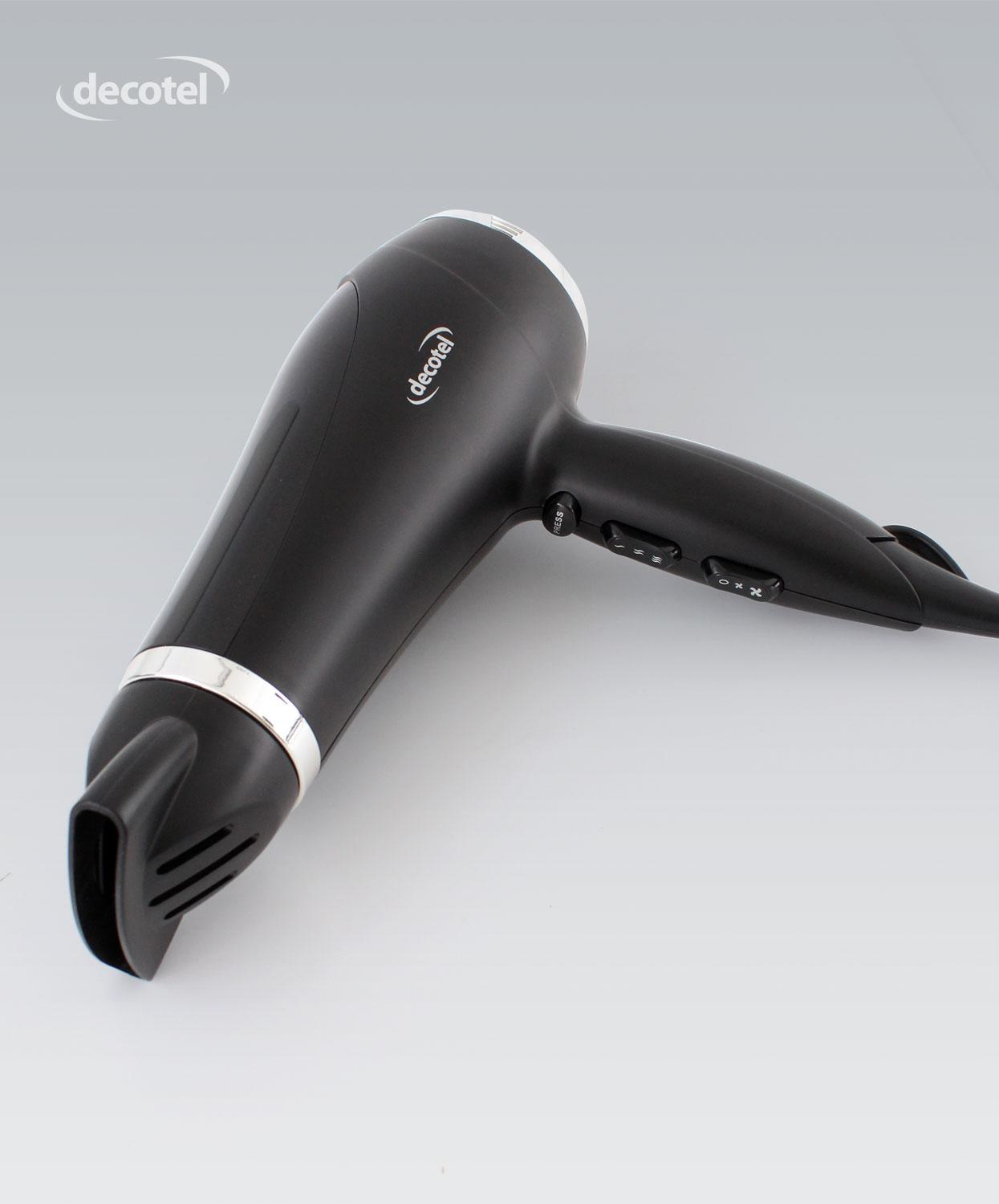Hotel hairdryer with non-latching switch for safety
