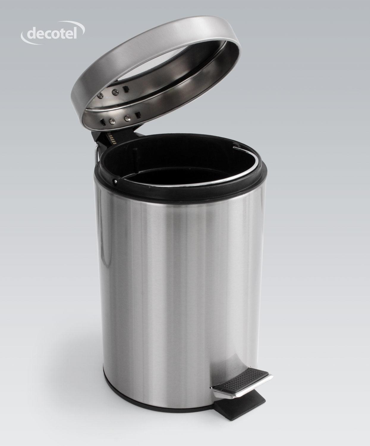 Decotel chrome steel bathroom pedal bin