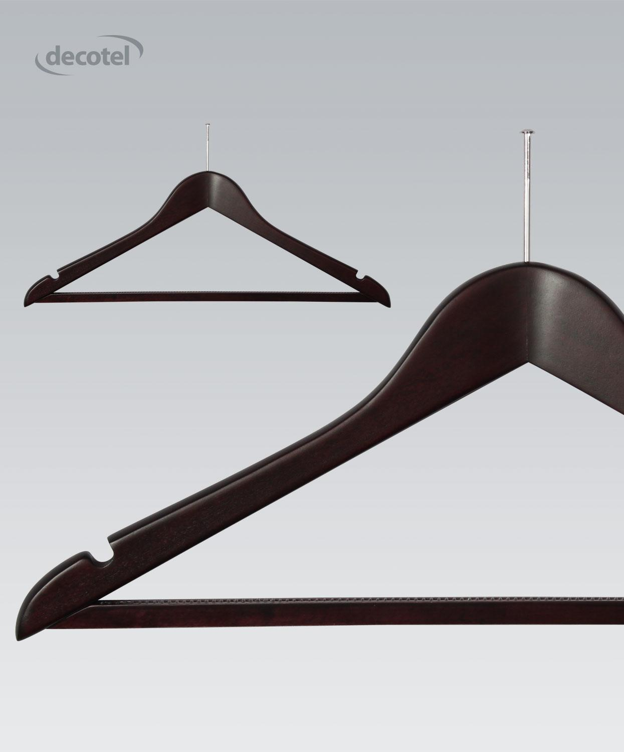 Dark Maple Hanger with Non-slip Trouser Bar