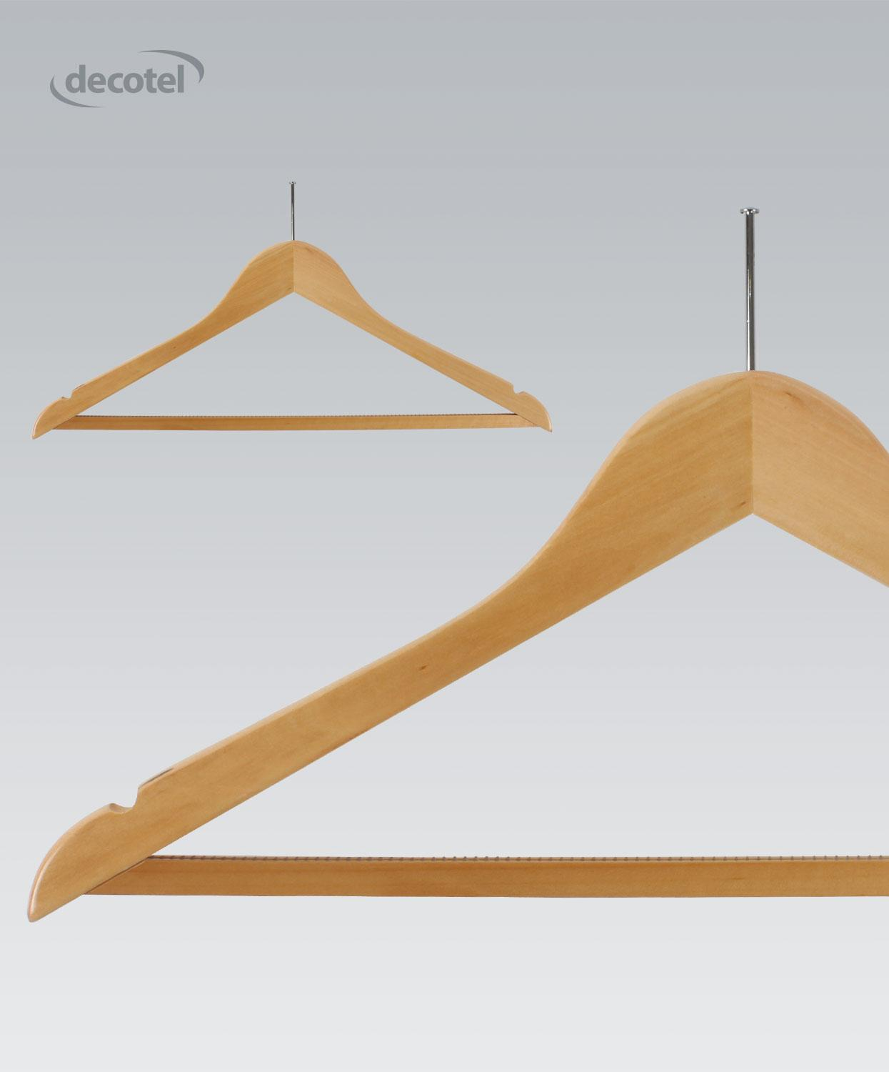 Light Maple Hanger with Non-slip Trouser Bar
