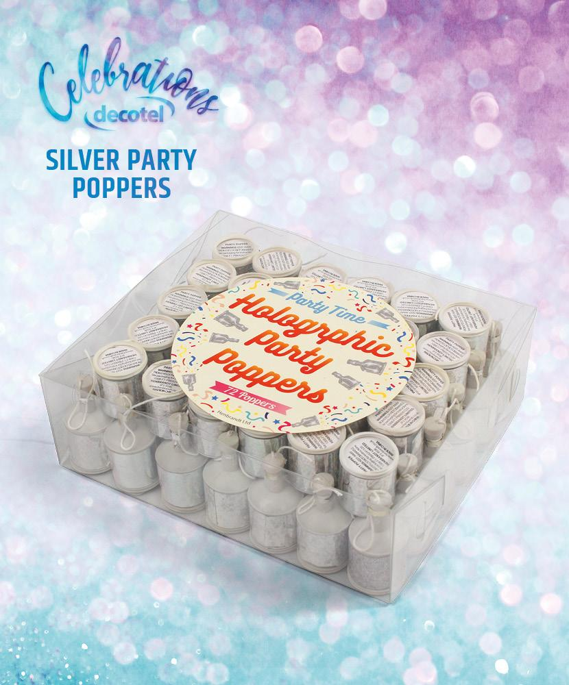silver party poppers box