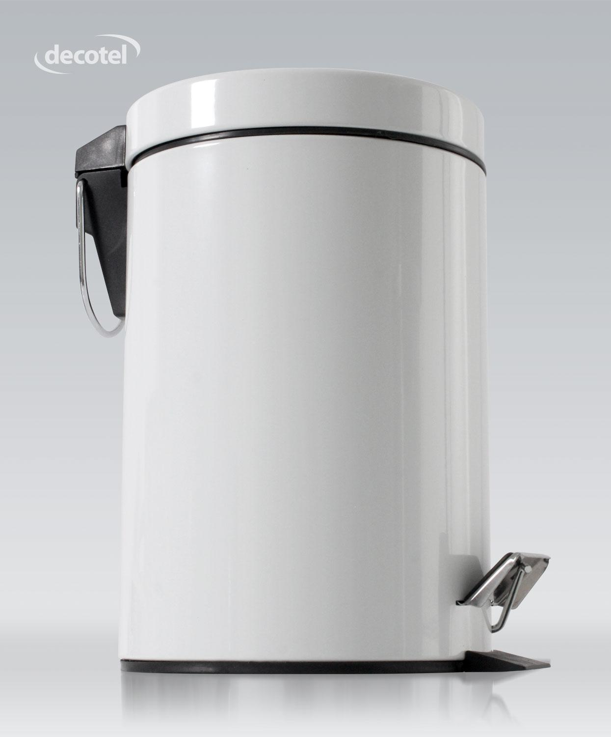 Gloss white 3 litre bathroom pedal bin