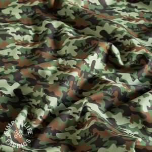 Green and brown Camouflage cotton fabric