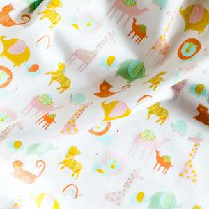 Safari animals baby organic cotton fabric