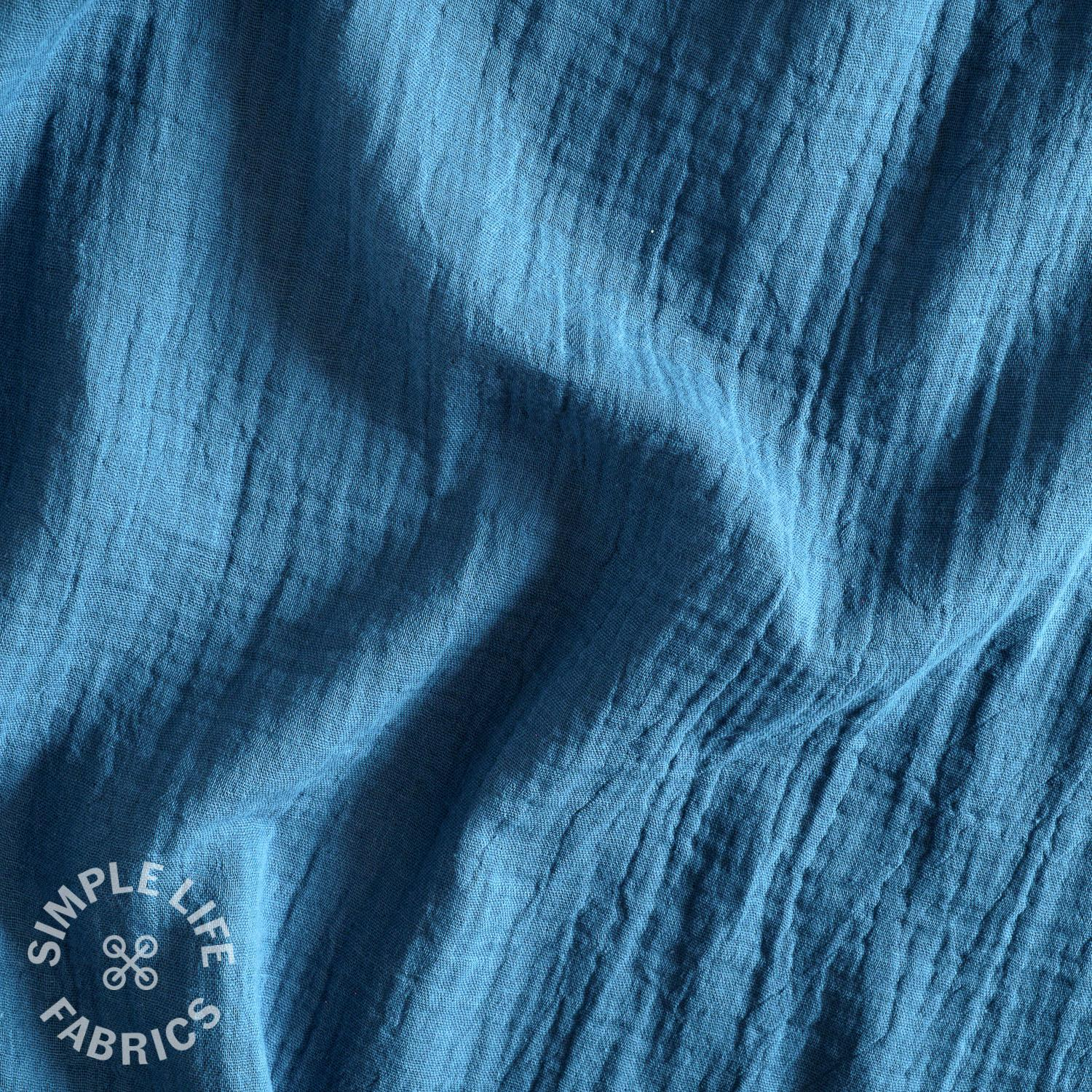 French Navy double gauze organic cotton fabric