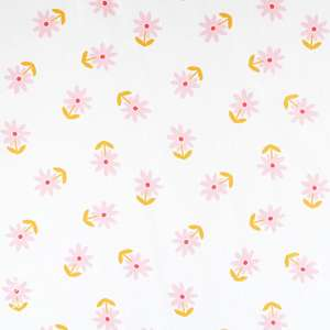 Floral coated cotton fabric with flowers
