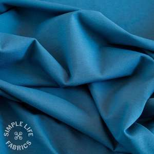 solid blue plain organic jersey fabric