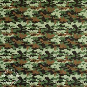 Camo khaki green cotton fabric