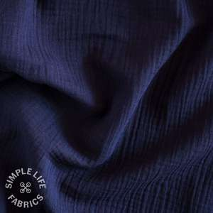 Navy blue solid colour organic double gauze fabric
