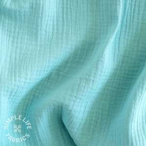 Sky blue organic cotton double gauze fabric