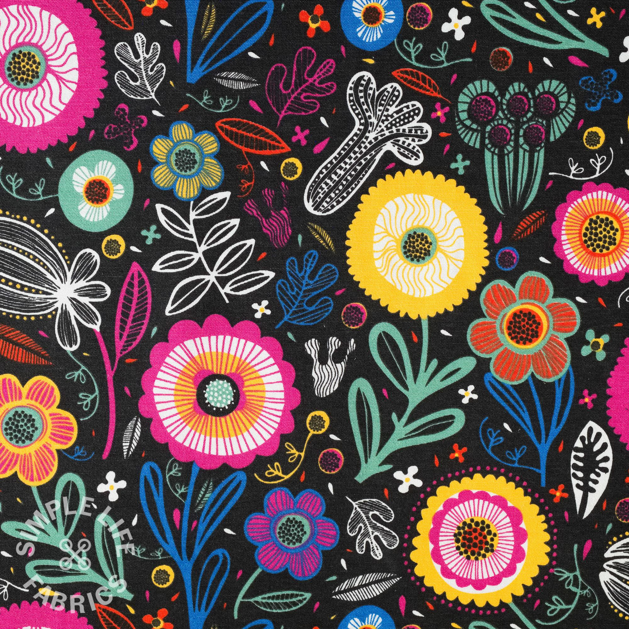 Folk art flowers print fabric