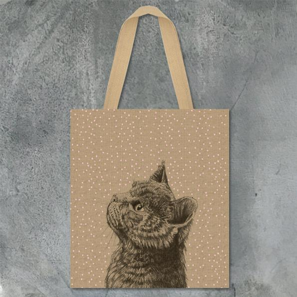 East of India Cat Jute Tote Bag