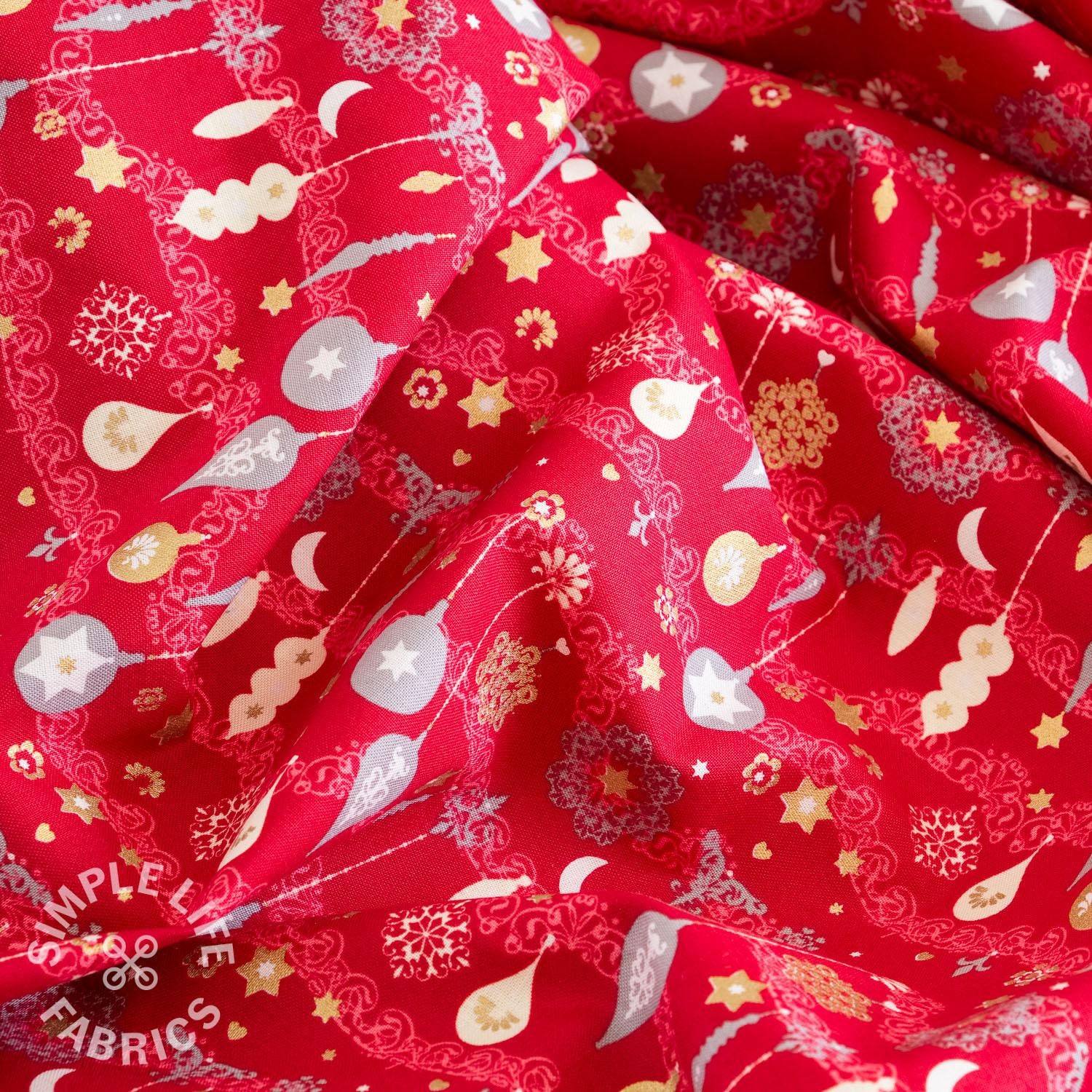 Red xmas baubles fabric uk