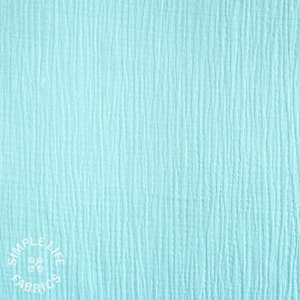 Plain light blue GOTS organic double gauze fabric