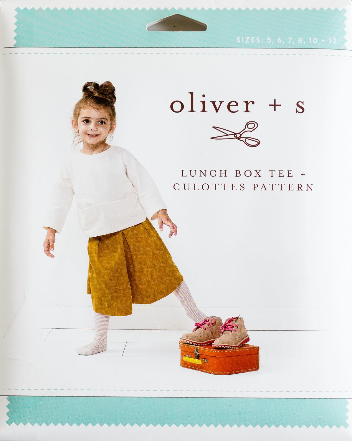 childrens sewing pattern lunch box t-shirt and culottes
